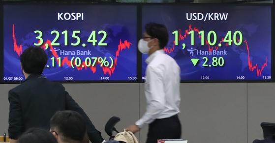 A screen in Hana Bank's trading room in central Seoul shows the Kospi closing at 3,215.42 points on Tuesday, down 2.11 points, or 0.07 percent from the previous trading day. [YONHAP]