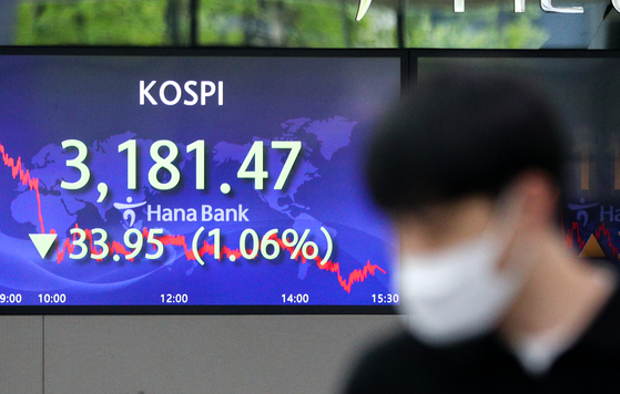 A screen in Hana Bank's trading room in central Seoul shows the Kospi closing at 3,181.47 points on Wednesday, down 33.95 points, or 1.06 percent from the previous trading day. [NEWS1]