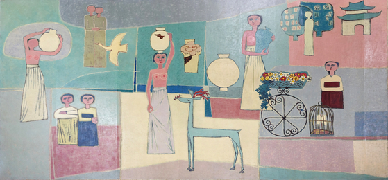 """""""Women and Jars""""(1950s) by Kim Whanki (1913-1974), [MINISTRY OF CULTURE, SPORTS AND TOURISM]"""