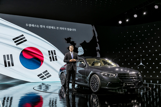 Thomas Klein, CEO and President of Mercedes-Benz Korea, speaks to the press at an S-Class Korean premiere event on Wednesday at the Dongdaemun Design Plaza in central Seoul. [MERCEDES-BENZ KOREA]