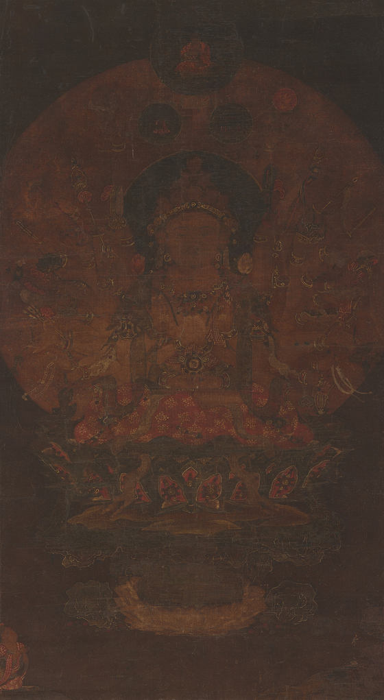 """""""Painting of the Bodhisattva of Great Compassion with a Thousand Arms"""" (Treasure No. 2,015).  [MINISTRY OF CULTURE, SPORTS AND TOURISM]"""