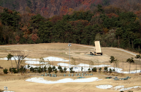 In this file photo from Nov. 12, 2017, an antimissile launcher of the Terminal High Altitude Area Defense system is installed in the Seongju base, built inside a country club in North Gyeongsang.  [YONHAP]