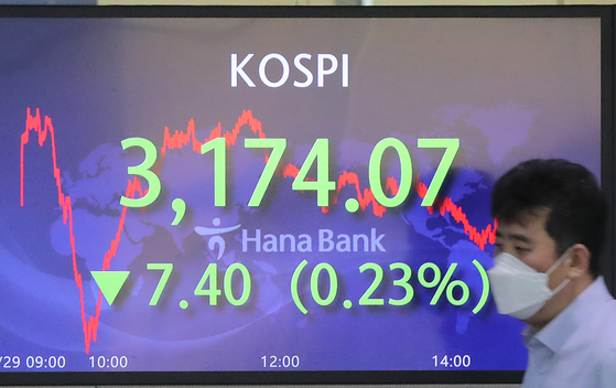 A screen in Hana Bank's trading room in central Seoul shows the Kospi closing at 3,174.07 points on Thursday, down 7.40 points, or 0.23 percent from the previous trading day. [YONHAP]