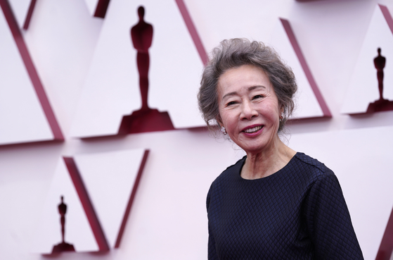 Actor Youn Yuh-jung arrives for the 93rd annual Academy Awards ceremony at Union Station in Los Angeles, California on Sunday. [EPA/YONHAP]