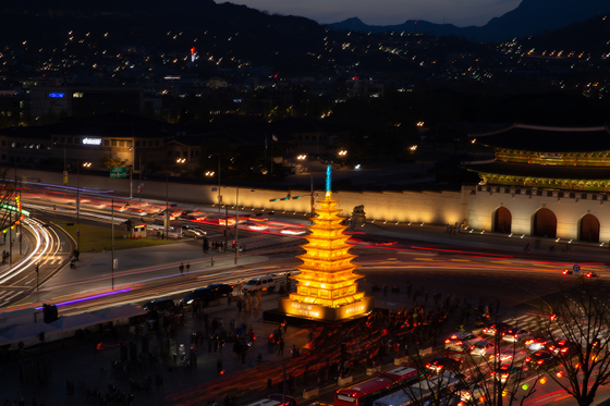 A pagoda-shaped lantern will light up at 7 p.m. on April 28 at Gwanghwamun Plaza in central Seoul to kick off Buddha's Birthday festival this year. [THE JOGYE ORDER OF KOREAN BUDDHISM]