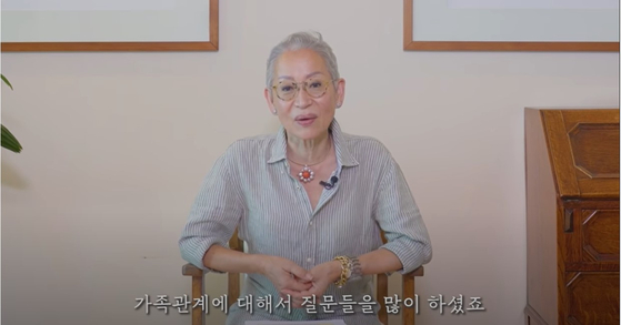 Chang Myung-sook, 68, known by her YouTuber name Milanonna, speaks during her YouTube video. [SCREEN CAPTURE]