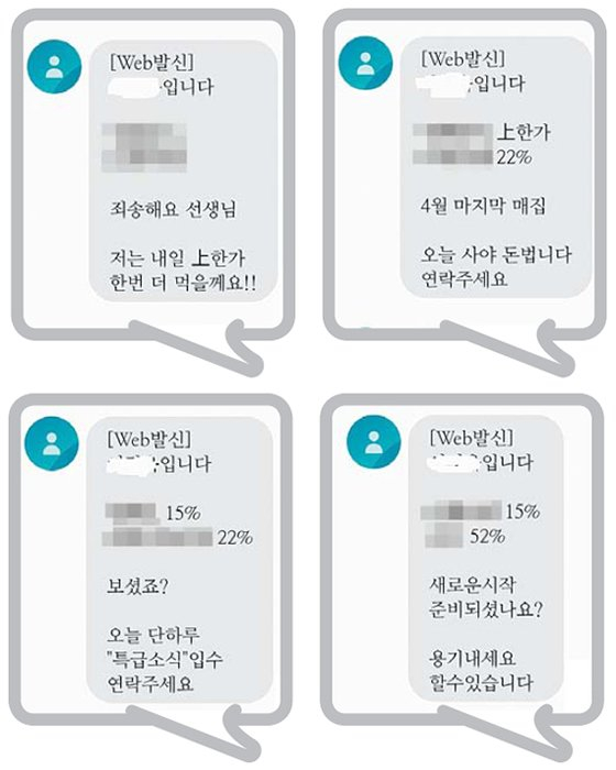 Examples of messages sent by quasi-investment advisors in stock leading rooms. The messages inform recipients about what stocks will surge. [JOONGANG DB]