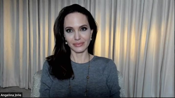 Angelina Jolie attends an online press event with the Korean media to promote her film ″Those Who Wish Me Dead″ on Tuesday. [WARNER BROS KOREA]