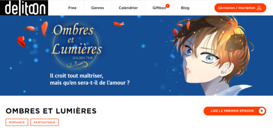The service page of Delitoon in France, with the webtoon ″Light and Shadow″ on the main page [LEZHIN ENTERTAINMENT]