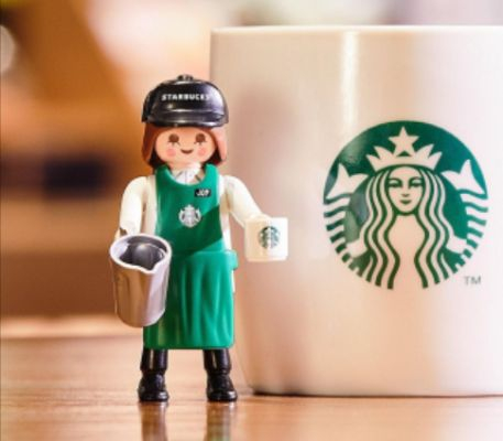 Playmobil figure Starbucks Barista Joy, a limited-edition item that was released earlier this year in collaboration with toy brand Playmobil [SCREEN CAPTURE]
