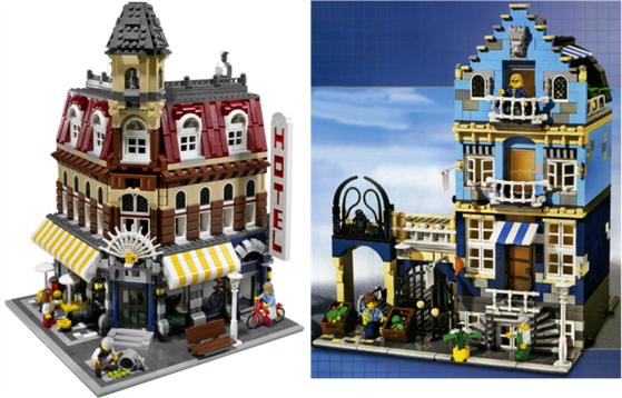 Lego Cafe Corner, left, and Market Street. [LEGO]