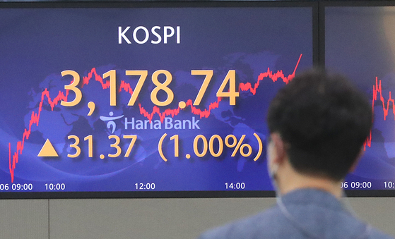 A screen in Hana Bank's trading room in central Seoul shows the Kospi closing at 3,178.74 points on Thursday, up 31.37 points, or 1.00 percent, from the previous trading day. [NEWS1]