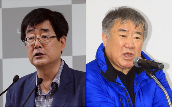 The Blue House said Friday that Presidential Secretary for Culture Jun Hyo-gwan, left, resigned over an allegation of a conflict of interests. The Blue House also said an internal probe found that Kim Woo-nam, CEO of the Korea Racing Authority, had used abusive language when speaking to the workers. [YONHAP]