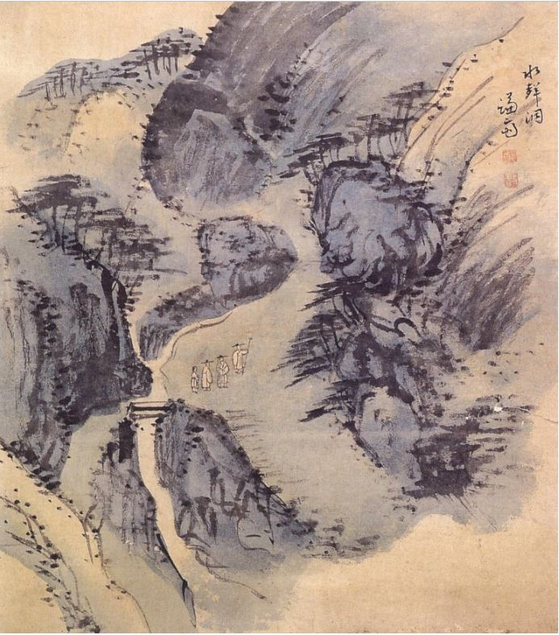 """Jeong Seon's """"Executed Album of Paintings of the Eight Views in Jangdong″ featuring Suseongdong Valley. [NATIONAL MUSEUM OF KOREA]"""