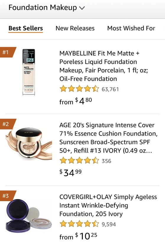 Aekyung Industrial's Age20's Signature Essence Cover Pact ranked No.2 in foundation category on Amazon last month. [AEKYUNG INDUSTRIAL]