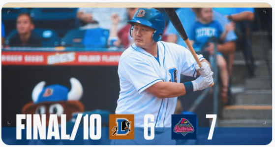 An image tweeted by the Durham Bulls shows Choi Ji-man at bat in the 7-6 extra inning loss against the Memphis Redbirds on Sunday. [SCREEN CAPTURE]