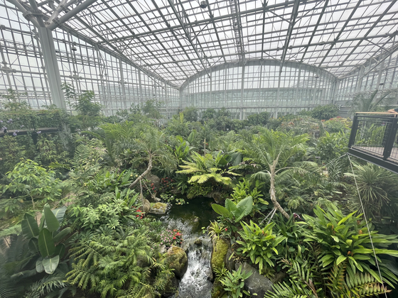An aerial view of the Four Seasons Exhibition Greenhouse at Sejong National Arboreteum [LEE SUN-MIN]