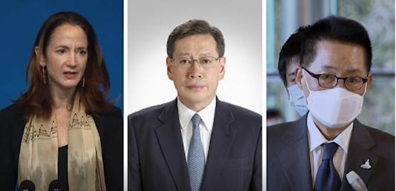 From left, U.S. Director of National Intelligence Avril Haines; Hiroaki Takizawa, Japan's cabinet intelligence director; and Park Jie-won, director of South Korea's National Intelligence Service. The three intelligence chiefs held trilateral talks in Tokyo Wednesday. [JOONGANG ILBO]