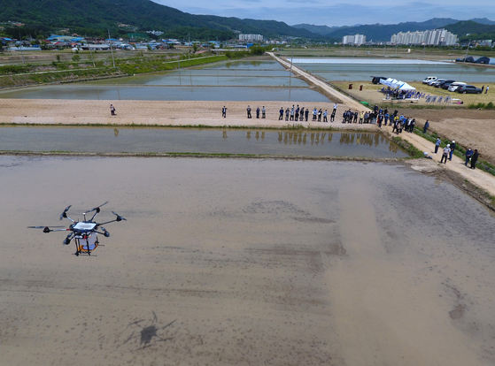 Gangwondo Agricultural Research and Extension Services demonstrates the direct planting of rice seeds by drones on Wednesday in Yanggu County, Gangwon. The research body said direct planting of rice seeds using drones not only cuts on labor and costs, but also reduces carbon emitted in overall farming as direct planting doesn't require growing seedlings then transferring them. [YONHAP]