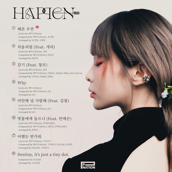 """Heize's tracklist for her 7th EP """"Happen"""" was revealed by her agency P Nation on Thursday. [P NATION]"""