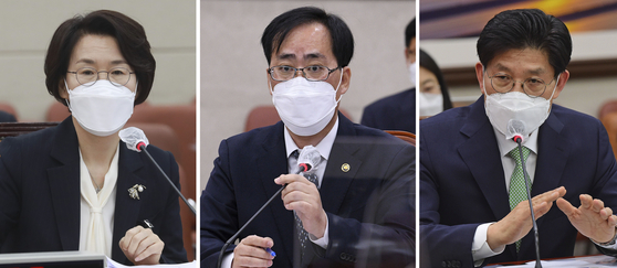 Ruling Democratic Party first-term lawmakers demanded Wednesday that President Moon Jae-in withdraw at least one of three cabinet nominees criticized for ethical lapses: Science minister-nominee Lim Hye-sook, left, oceans minister-nominee Park Jun-young, center, and land minister-nominee Noh Hyeong-ouk.  [YONHAP]