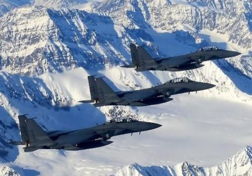 F-15K from the Korean Air Force taking part in a previous Red Flag-Alaska drill. [YONHAP]
