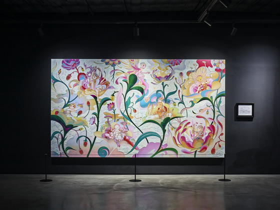 """In a painting titled """"Garden"""" by James Jean, the members of BTS have been depicted as nymphs in a garden that give life to and console the hearts of visitors. The painting, as well as others by Jean, is on display at a section of the museum titled ″Seven Phases.″ [HYBE]"""