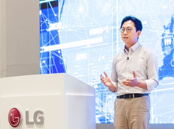 Bae Kyung-hoon, head of LG AI Research, speaks at a virtual event on Monday. [LG]