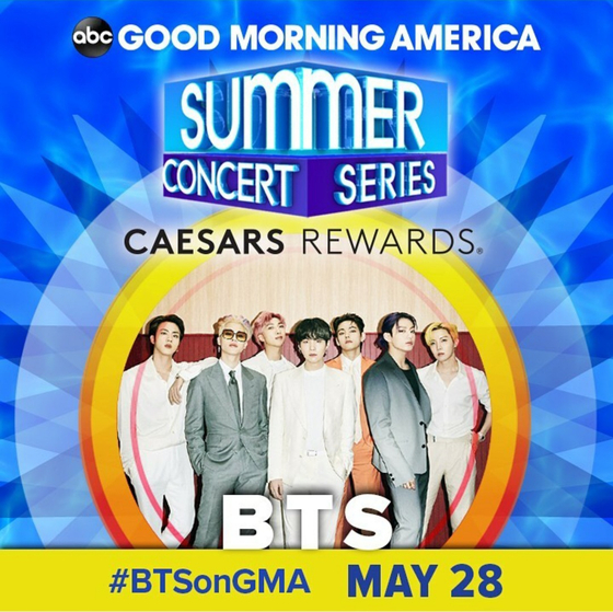 """ABC's morning show """"Good Morning America"""" announced Monday that BTS will open its """"Good Morning America"""" 2021 Summer Concert Series on May 28. [SCREEN CAPTURE]"""