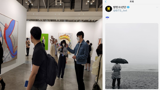 """Actor Lee Min-ho, left, taking a picture of contemporary artist Daniel Richter's """"Sick Music"""" (2018) at the booth of Thaddeus Ropac gallery at the VIP opening ceremony of Art Busan on May 13. RM, right, uploaded a picture of himself in Busan during this year's Art Busan fair, on the official BTS twitter on May 16. [ART BUSAN, TWITTER]"""