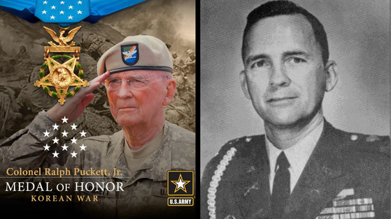 Retired U.S. Army Col. Ralph Puckett, Jr., a Korean War veteran, will be awarded the Medal of Honor by U.S. President Joe Biden in a ceremony Friday to be attended by Korean President Moon Jae-in, announced the White House Wednesday ahead of the two leaders' first summit. [U.S. ARMY]