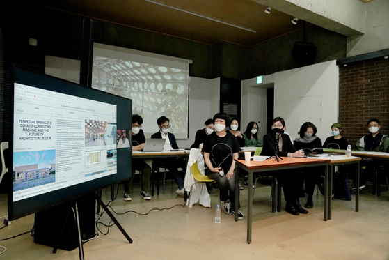 Shin Hye-won, creative director of the Korean Pavilion, speaks during a press conference at the Arko Art Center in Daehangno, central Seoul, on Friday. [ARTS COUNCIL KOREA]