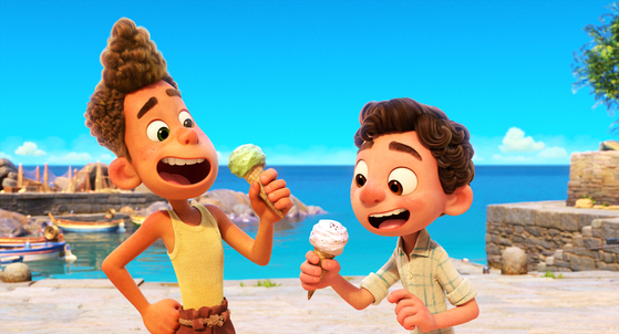 """Set in a beautiful seaside town on the Italian Riviera, Disney and Pixar's """"Luca"""" is about two boys/sea monsters experiencing an unforgettable summer filled with gelato, pasta and endless scooter rides. [PIXAR]"""