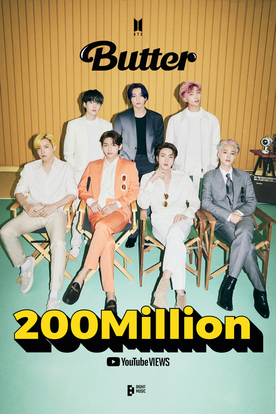BTS's music video for its latest single ″Butter″ hit 200 million views on Tuesday, four days after its release on May 21. [BIG HIT MUSIC]