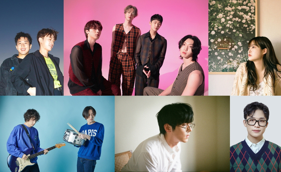 The teams of six artists who have been chosen for this year's CJ Culture Foundation Tune Up project are (clockwise from top left): Cott, Lacuna, Yebit, J.UNA, Hong Isaac and Honghae. [CJ CULTURE FOUNDATION]