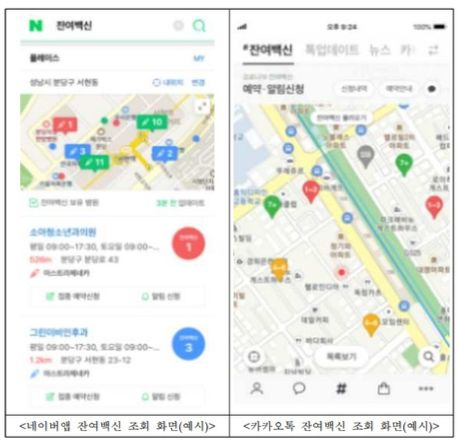 Screen grabs showing medical institutions with available vaccines on Naver (left) and KakaoTalk (right). [COVID-19 VACCINATION TASK FORCE]