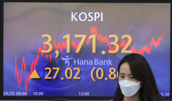 A screen in Hana Bank's trading room in central Seoul shows the Kospi closing at 3,171.32 points on Tuesday, up 27.02 points, or 0.86 percent, from the previous trading day. [YONHAP]