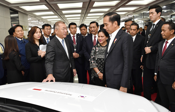 Hyundai Motor Group Chairman Euisun Chung, fourth from left, speaks with Indonesian President Joko Widodo, fourth from right, in front of the automaker's Kona Electric car in Ulsan in 2019. [HYUNDAI MOTOR GROUP]