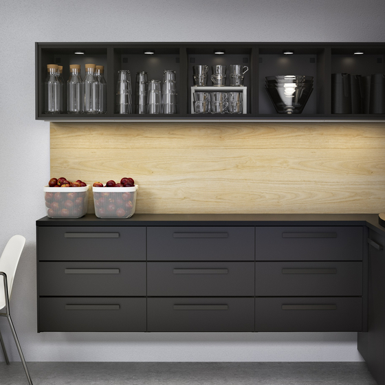 Ikea's Kungsbacka kitchen drawer front is made out of 25 recycled PET-bottles to reduce waste and use resources efficiently. [IKEA KOREA]