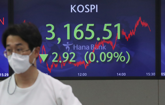 A screen in Hana Bank's trading room in central Seoul shows the Kospi closing at 3,165.51 points on Thursday, down 2.92 points, or 0.09 percent, from the previous trading day. [NEWS1]