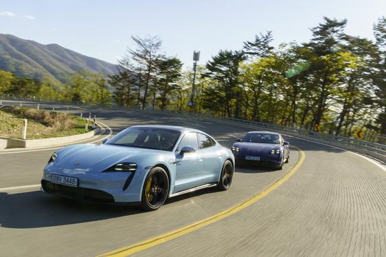 Porsche's Taycan 4S on winding courses in Goseong, Gangwon. [PORSCHE KOREA]