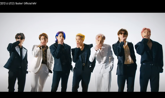 A scene from BTS's ″Butter″ music video. [YOUTUBE CAPTURE]