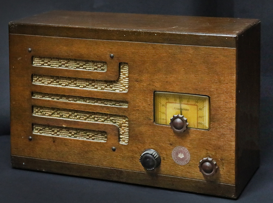A 1930s radio with the logo of the Office of the Japanese Governor General of Korea on it [PARK SANG-MOON]