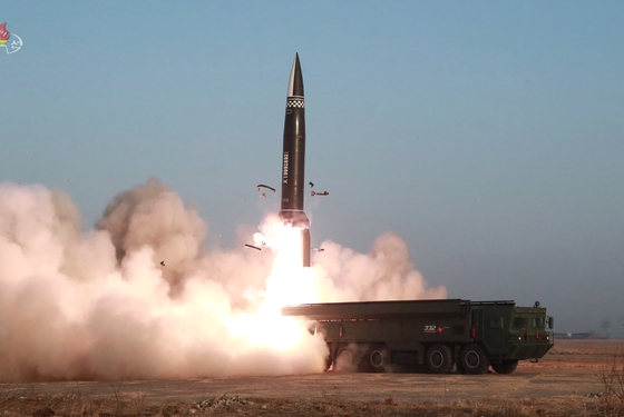 North Korea carries out a test-launch of an upgraded K-23 short-range ballistic missile on March 25, 2021. [YONHAP]