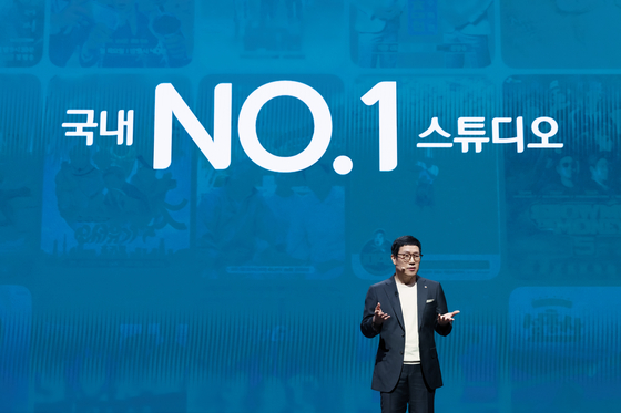 """CJ ENM CEO Kang Ho-sung speaks at a press event titled """"CJ ENM & TVING Vision Stream"""" held at CJ ENM Center in Sangam-dong, western Seoul on Monday.[CJ ENM]"""