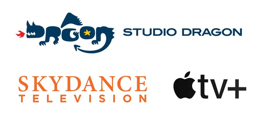 The logos of Studio Dragon, Skydance Television and Apple TV+ [EACH COMPANY]