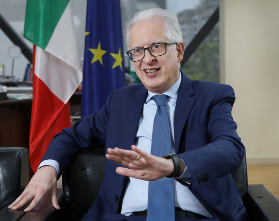 Federico Failla, ambassador of Italy to Korea, speaks with the Korea JoongAng Daily at the embassy in Seoul on May 25. [PARK SANG-MOON]