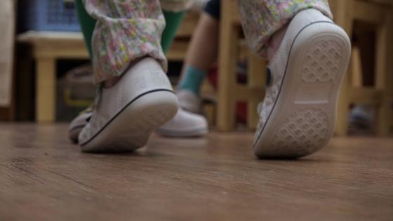 "A scene from the film ""Tiptoeing"" showing Ji-hoo's feet as she walks [CINEMADAL]"