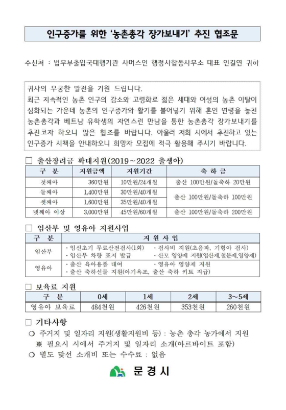 The request from Mungyeong city government to Shamusin, a legal consultant office, to request help in creating ″natural meetings″ between Vietnamese students studying in Korea with middle-aged and single Korean men in rural areas to encourage international marriages. [WOMEN MIGRANTS HUMAN RIGHTS CENTER OF KOREA]