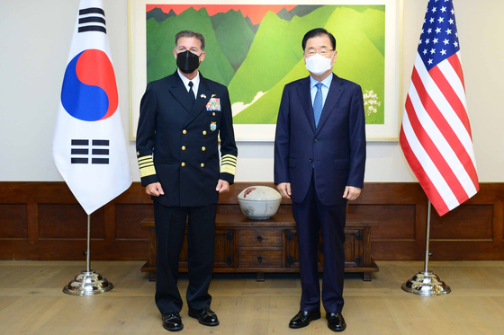 Korean Foreign Minister Chung Eui-yong, right, and Adm. John C. Aquilino, head of the U.S. Indo-Pacific Command, pose for a photo at the minister's official residence in central Seoul Thursday. [FOREIGN MINISTRY]